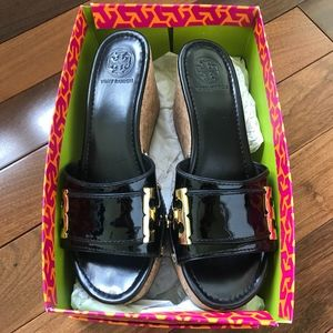 Black patent leather Tory Burch sandals size 9